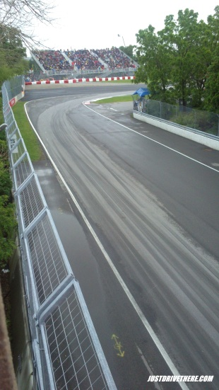 Turn 8 on Saturday, it's wet!